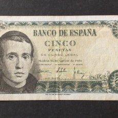 Billetes españoles: BILLETE DE 5 PESETAS ESPAÑA AÑO 1951. Lote 273280213