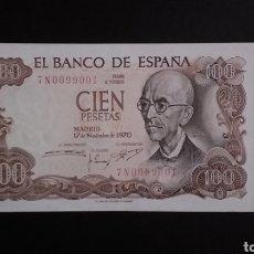 Billetes españoles: BILLETE PLANCHA DE 100 PESETAS ESPAÑA AÑO 1970 MANUEL DE FALLA. Lote 273594298