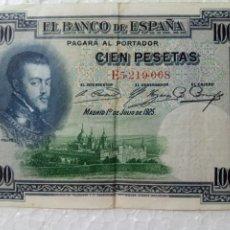 Billetes españoles: BILLETE CIEN PESETAS MADRID 1 DE JULIO DE 1925. Lote 273754998