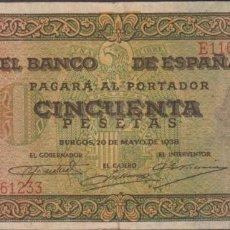 Billetes españoles: BILLETES ESPAÑOLES - ESTADO ESPAÑOL - 50 PESETAS 1938 - SERIE E (MBC). Lote 274218643