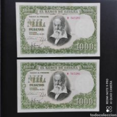 Billetes españoles: 1000 PESETAS 1951 PAREJA CORRELATIVA. Lote 274304583