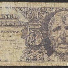 Notas espanholas: 5 PESETAS 1947 (SERIE A) BC. Lote 274895913