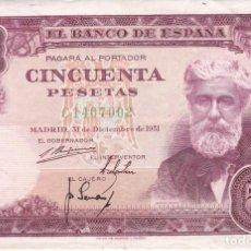 Billetes españoles: BILLETE DE 50 PESETAS DEL AÑO 1951 DE SANTIAGO RUSIÑOL SERIE C. Lote 275316133