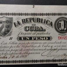 Billetes españoles: CUBA 1 PESO REPÚBLICA DE CUBA 1869 SERIE B FIRMADO Y FECHADO SC-. Lote 275316228