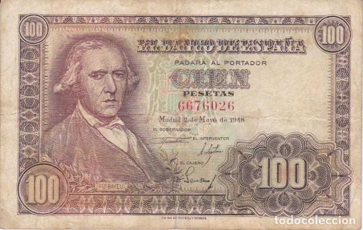 BILLETE DE ESPAÑA DE 100 PESETAS DEL 2/05/1948 FRANCISCO BAYEU SIN SERIE (Numismática - Notafilia - Billetes Españoles)