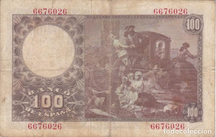 Billetes españoles: BILLETE DE ESPAÑA DE 100 PESETAS DEL 2/05/1948 FRANCISCO BAYEU SIN SERIE - Foto 2 - 275327268