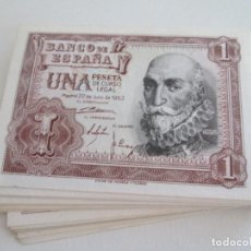 Billetes españoles: BILLETE * 1 PESETA 22 DE JULIO DE 1953 * SC * LOTE DE 35 BILLETES. Lote 275792063