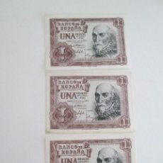 Billetes españoles: BILLETE * 1 PESETA 22 DE JULIO DE 1953 * SC-SIN SERIE * LOTE DE 3 BILLETES. Lote 275792338