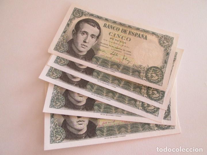 BILLETE * 5 PESETAS 16 DE AGOSTO DE 1951 * SC * LOTE DE 7 BILLETES (Numismática - Notafilia - Billetes Españoles)