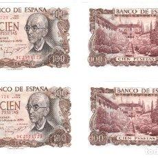 Billetes españoles: DOS BILLETES CORRELATIVOS DE 100 PESETAS, AÑO 1970. MANUEL DE FALLA. SERIE ESPECIAL 9C. SIN CIRCULAR. Lote 276586733