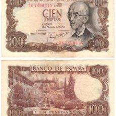 Billetes españoles: BILLETE DE 100 PESETAS DEL AÑO 1970. MANUEL DE FALLA. SERIE 3G. Lote 276587098