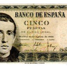 Billetes españoles: BILLETE DE ESPAÑA DE 5 PESETAS DE 1951 CIRCULADO. Lote 276621723