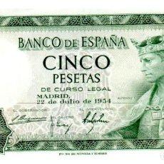 Billetes españoles: BILLETE DE ESPAÑA DE 5 PESETAS DE 1954 CIRCULADO. Lote 276621853