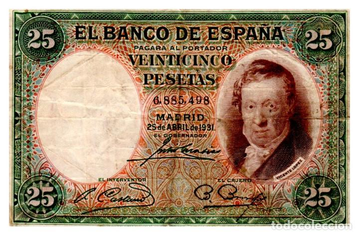 BILLETE DE ESPAÑA DE 25 PESETAS DE 1931 CIRCULADO (Numismática - Notafilia - Billetes Españoles)