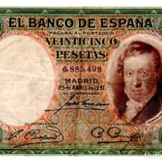 Notas espanholas: BILLETE DE ESPAÑA DE 25 PESETAS DE 1931 CIRCULADO. Lote 276622328