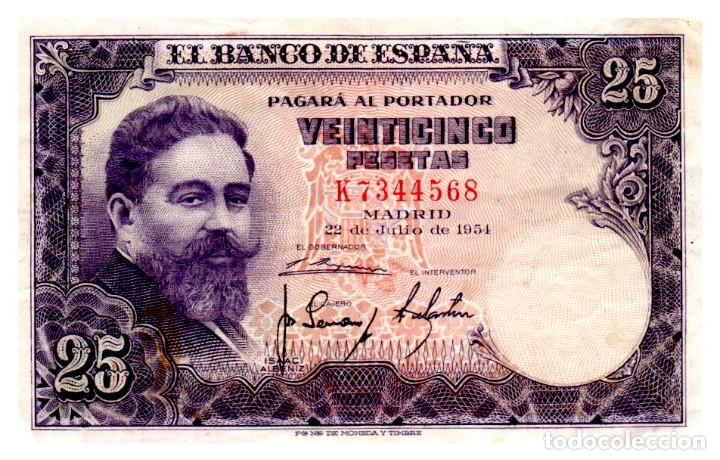 BILLETE DE ESPAÑA DE 25 PESETAS DE 1954 CIRCULADO (Numismática - Notafilia - Billetes Españoles)