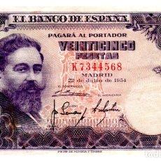 Notas espanholas: BILLETE DE ESPAÑA DE 25 PESETAS DE 1954 CIRCULADO. Lote 276622543
