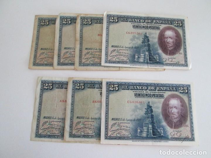 BILLETE * 25 PESETAS 15 DE AGOSTO DE 1928 * LOTE DE 7 BILLETES (Numismática - Notafilia - Billetes Españoles)