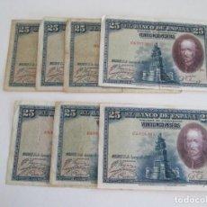 Billetes españoles: BILLETE * 25 PESETAS 15 DE AGOSTO DE 1928 * LOTE DE 7 BILLETES. Lote 276990473