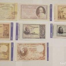 Billetes españoles: 8 BILLETES BANCO DE ESPAÑA FACSIMIL/COPIA - COLECCION EDICIONES GRUPOJOLY - 2001. Lote 277007903