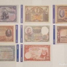 Billetes españoles: 8 BILLETES BANCO DE ESPAÑA FACSIMIL/COPIA - COLECCION EDICIONES GRUPOJOLY - 2001. Lote 277008353