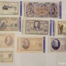 Billetes españoles: 9 BILLETES BANCO DE ESPAÑA FACSIMIL/COPIA - COLECCION EDICIONES GRUPOJOLY - 2001. Lote 277010113