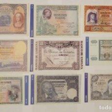 Billetes españoles: 9 BILLETES BANCO DE ESPAÑA FACSIMIL/COPIA - COLECCION EDICIONES GRUPOJOLY - 2001. Lote 277012638
