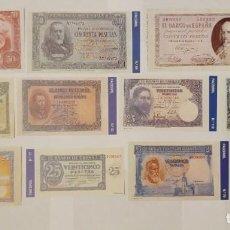 Billetes españoles: 10 BILLETES BANCO DE ESPAÑA FACSIMIL/COPIA - COLECCION EDICIONES GRUPOJOLY - 2001. Lote 277015078