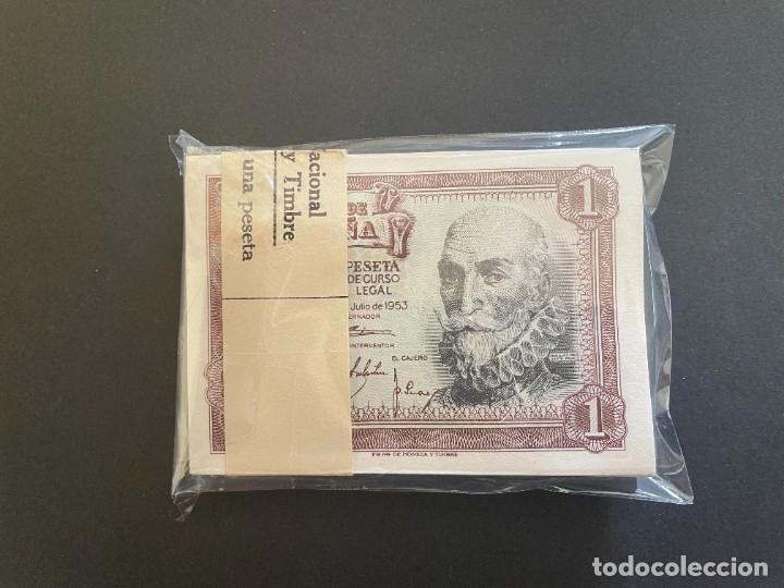 1 PESETA 1953 TACO DE CIEN BILLETES SIN CIRCULAR Y CORRELATIVOS L-10 (Numismática - Notafilia - Billetes Españoles)