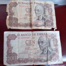 Billetes españoles: 2 BILLETES DE 100 PESETAS. Lote 277065373