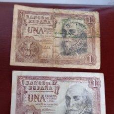 Billetes españoles: 2 BILLETES DE 1 PESETA 1953. Lote 277066068