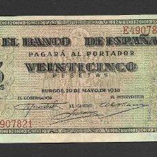 Billetes españoles: 25 PESETAS 1938 SERIE E EBC-. Lote 277131628