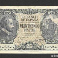 Billetes españoles: 25 PESETAS 1940 SERIE F MBC+/EBC-. Lote 277131833