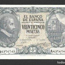 Billetes españoles: 25 PESETAS 1940 SERIE A EBC. Lote 277132003
