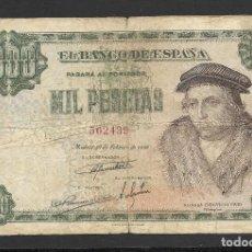 Billetes españoles: 1000 PESETAS 1946 SIN SERIE BC+. Lote 277134053