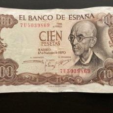 Billetes españoles: ESPAÑA 100 PESETAS 1970 MANUEL DE FALLA. Lote 277180918