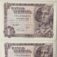 Billetes españoles: DOS BILLETES - 1 PESETA - PAREJA CORRELATIVA - SERIE J - SIN CIRCULAR - DAMA DE ELCHE - 1948. Lote 277303923