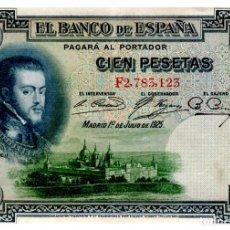 Billetes españoles: BILLETE DE ESPAÑA DE 100 PESETAS DE 1925 CIRCULADO FELIPE II. Lote 277419643