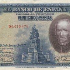 Billetes españoles: 25 PESETAS 1928 EBC. Lote 277453488