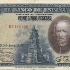 Billetes españoles: 25 PESETAS 1928 EBC. Lote 277453578