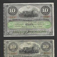 Billetes españoles: 2 BILLETES 10 PESOS 1896 BANCO ESPAÑOL DE LA ISLA DE CUBA EBC. Lote 277458098