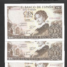 Billetes españoles: 4 BILLETES CORRELATIVOS 100 PESETAS 1965 SERIE E S/C. Lote 277458253