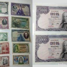 Billetes españoles: LOTE BILLETES ANTIGUOS ESPAÑA. 5000 - 100 - 50 - 25 - 10 - 5 - 2 - 1 PESETAS.. Lote 277559933