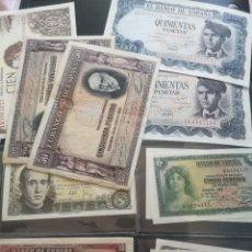 Billetes españoles: BILLETES ESPAÑOLES 500 PESETAS 100 PESETAS 50 PESETAS SIN SERIE 10 PESETAS 5 Y 1 PESETAS. Lote 278266093