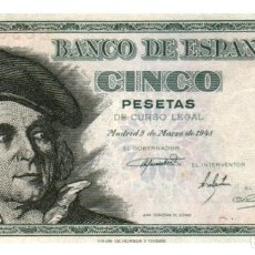 Billetes españoles: BILLETE DE ESPAÑA DE 5 PESETAS DE 1948 CIRCULADO. Lote 278318223