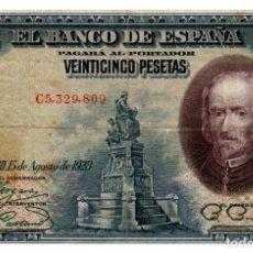 Billetes españoles: BILLETE DE ESPAÑA DE 25 PESETAS DE 1928 MUY CIRCULADO MANCHADO. Lote 278318313