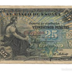Notas espanholas: BILLETE DE ESPAÑA CLASICO DE 25 PESETAS DEL AÑO 1906 SERIE C BC+. Lote 278323038