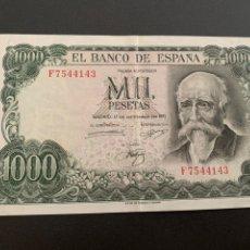 Notas espanholas: BILLETE 1000 PESETAS. 1971. SERIE F USADO EN BUEN ESTADO.. Lote 278451363