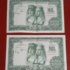 Billetes españoles: 2 BILLETES CORRELATIVOS DE MIL PESETAS - REYES CATOLICOS - 1957 - SC.. Lote 278541968
