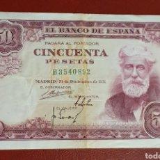 Billetes españoles: BILLETE DE 50 PESETAS - RUSIÑOL - 1951 - SERIE B - MBC.. Lote 278543088